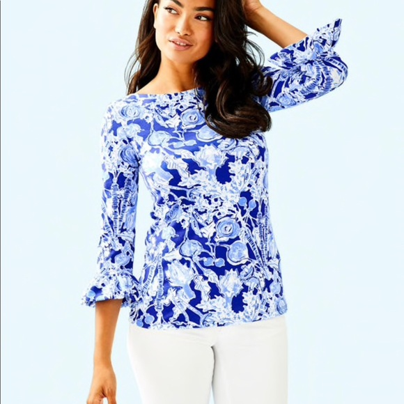 Lilly Pulitzer Tops - Lilly Pulitzer Waverly Ruffle Top Pretty Peas